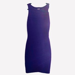 Cache Purple Body-con Dress pin-tuck sleeveless 8